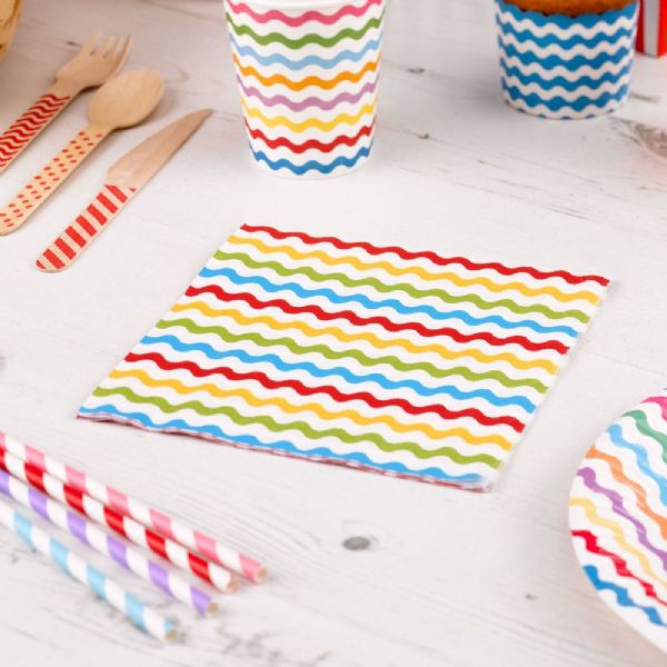 Carnival Multi Coloured Napkins - Waves (20)